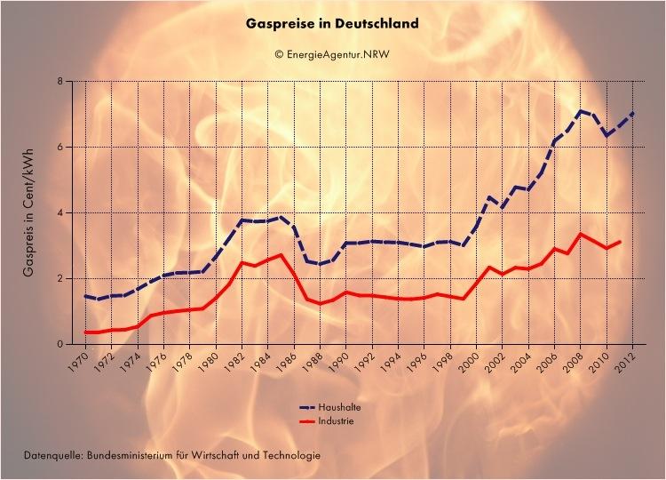Gaspreisentwicklung seit
